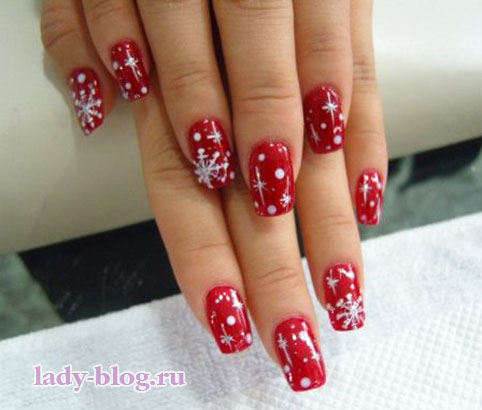 Зимние рисунки на ногтях в домашних условиях
