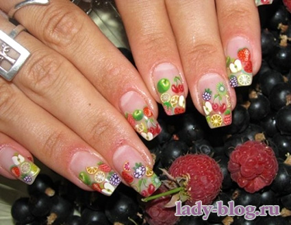 Рисунки на ногтях летние - фрукты