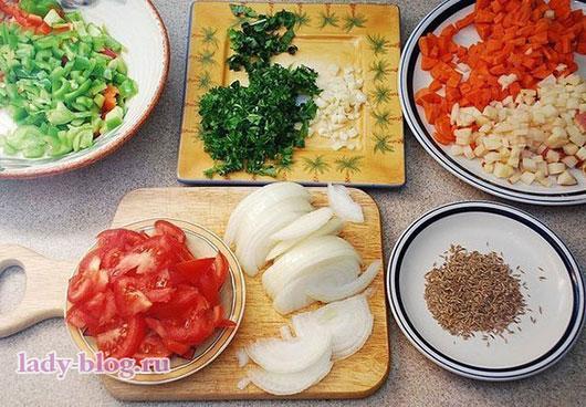 Овощи для лагмана в домашних условиях