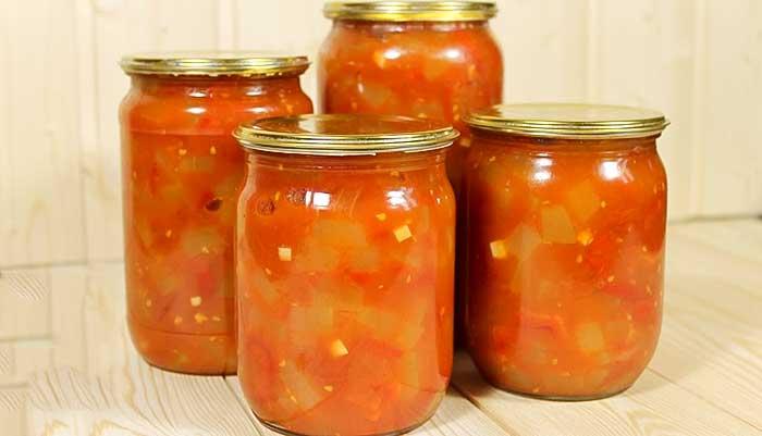 Кабачки в томате с перцем на зиму